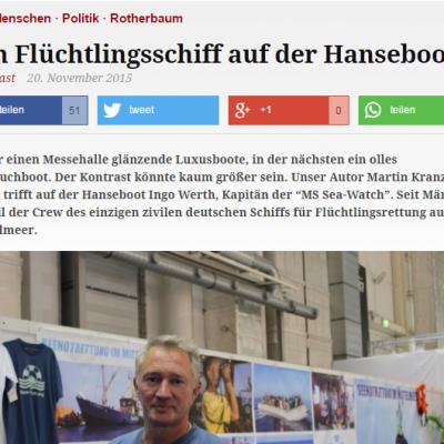 Eimsbütteler Wochenbericht: Ein Flüchtlingsschiff auf der Hanseboot